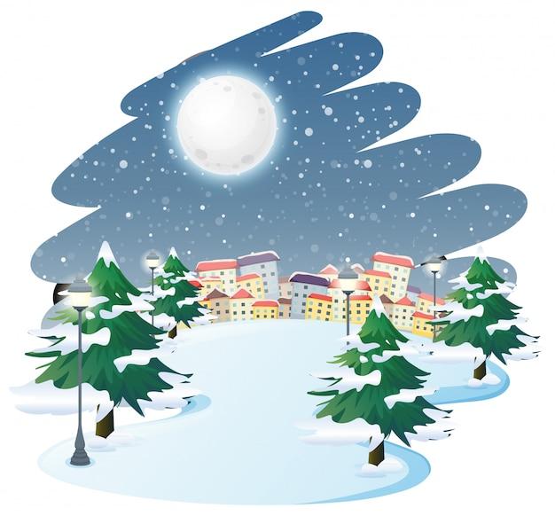 Uma paisagem de inverno ao ar livre