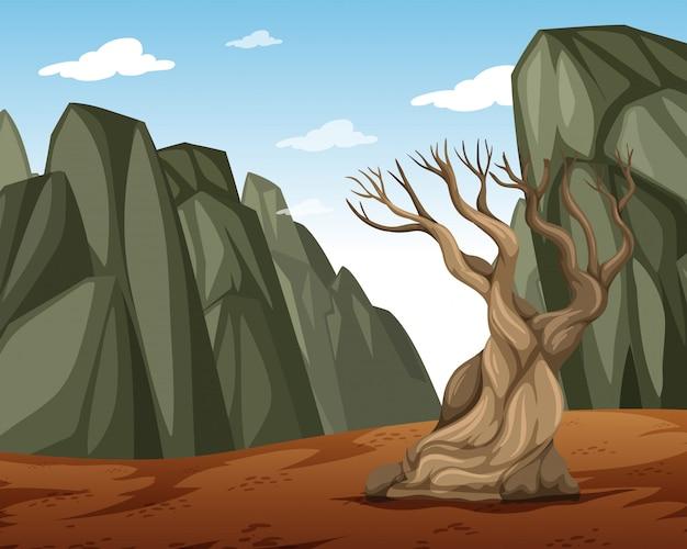 Uma paisagem de montanha seca