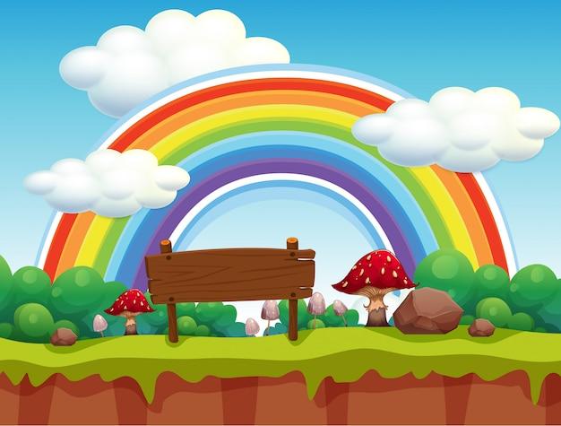 Uma paisagem de parque e arco-íris