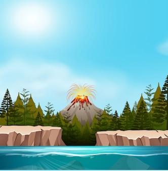 Uma paisagem do vulcão da natureza