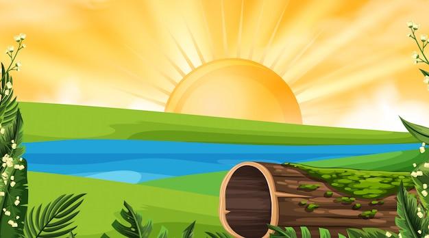 Uma paisagem natural ao pôr do sol