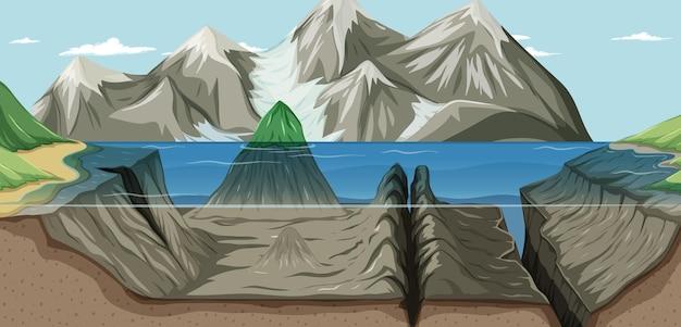 Uma paisagem subaquática e acima da água