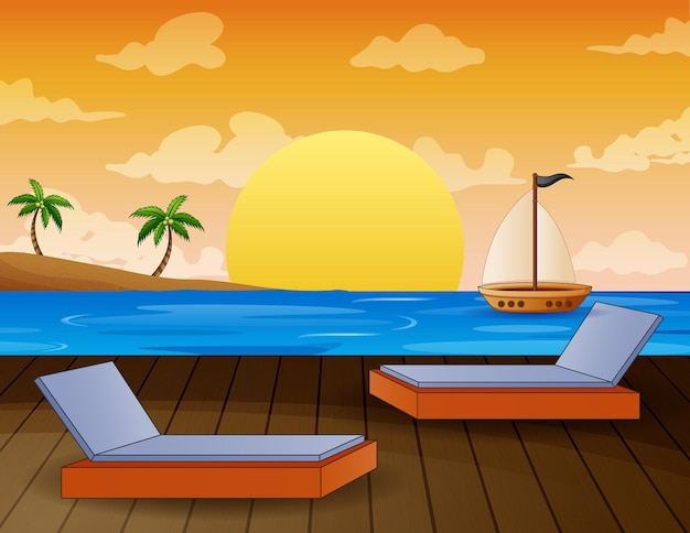 Uma paisagem tropical com vista para o oceano