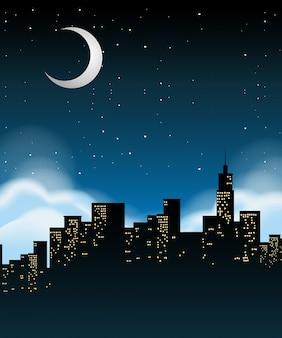 Uma paisagem urbana à noite