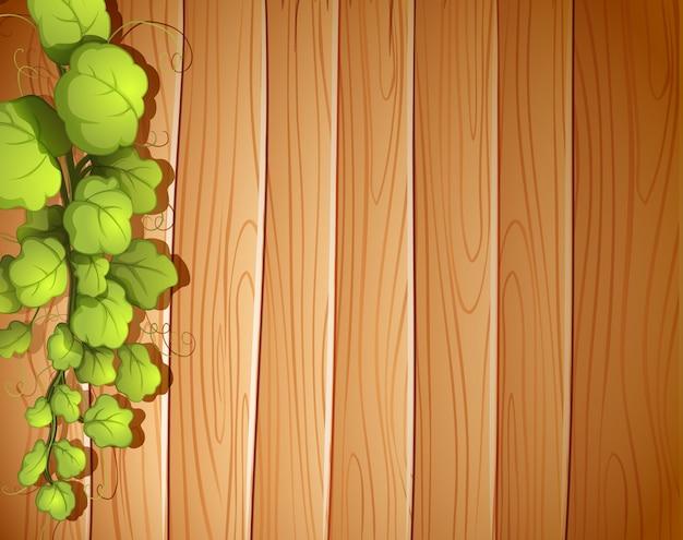 Uma parede de madeira com uma videira