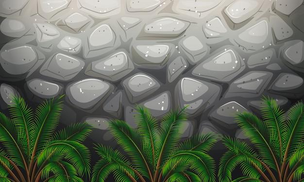 Uma parede de pedra com plantas