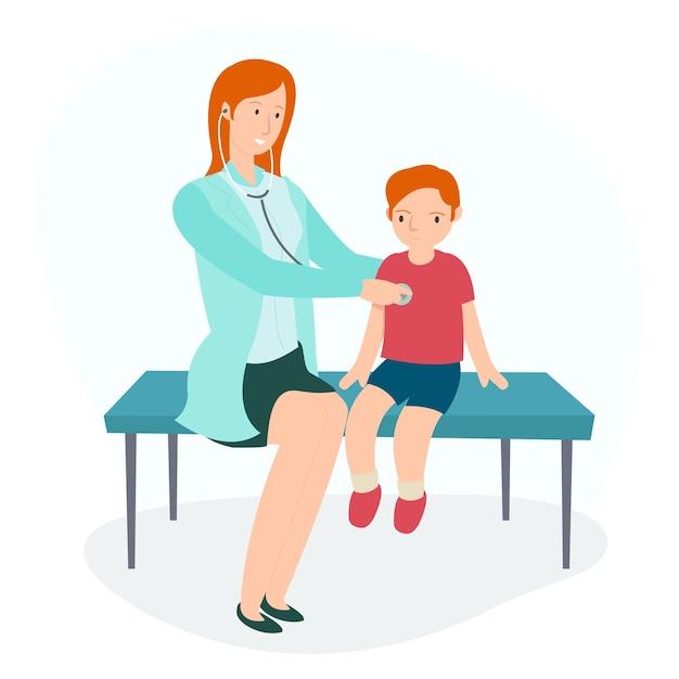 Uma pediatra está verificando os batimentos cardíacos de seu paciente