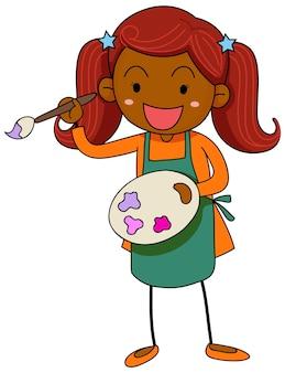 Uma pequena artista segurando um personagem de desenho animado de paleta de cores isolado