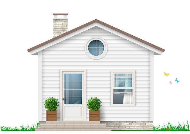 Uma pequena casa branca