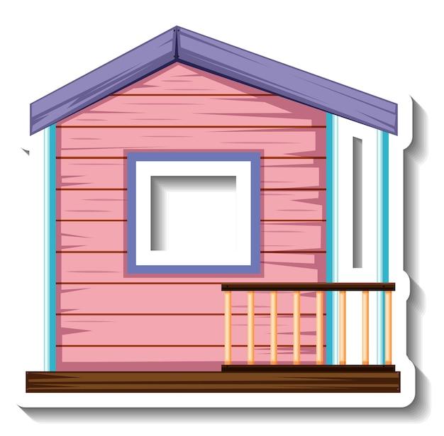 Uma pequena casa de madeira rosa isolada