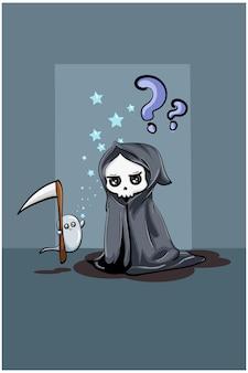 Uma pequena caveira fofa vestindo uma capa preta com um pequeno fantasma branco carregando um machado