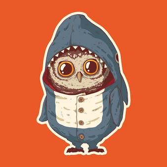 Uma pequena coruja de pijama