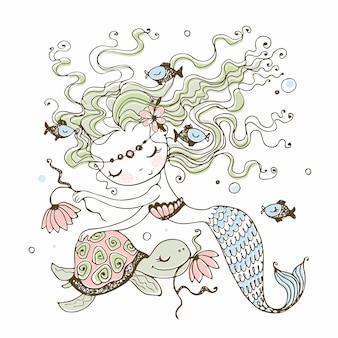 Uma pequena sereia bonitinha com uma tartaruga. estilo doodle.