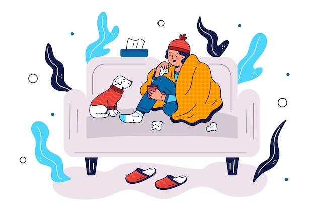 Uma pessoa com frio ilustrada