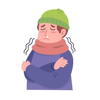 Uma pessoa com frio
