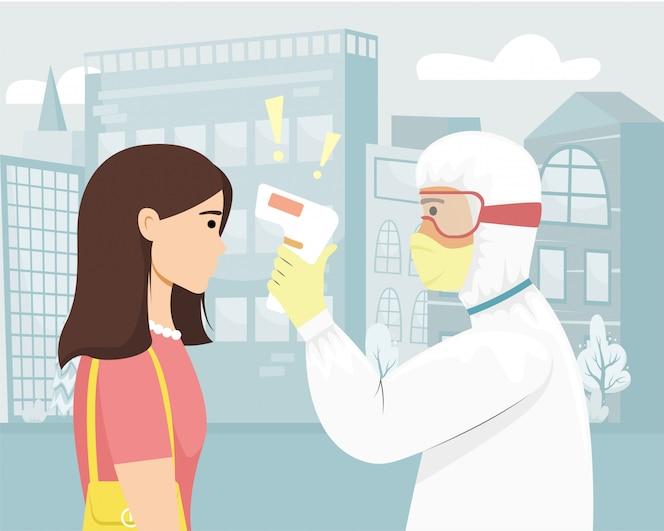 Uma pessoa com proteção bacteriana mede a temperatura da garota com um termovisor.