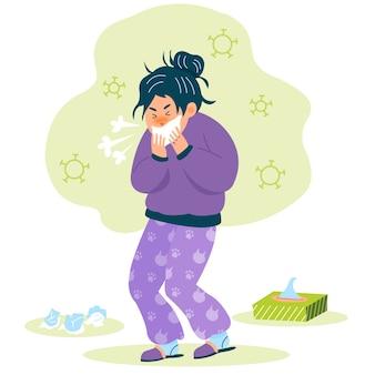 Uma pessoa com tosse fria