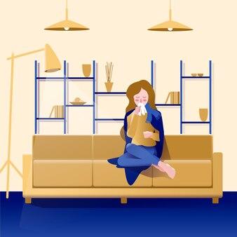 Uma pessoa com um resfriado no sofá ilustrado
