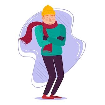 Uma pessoa com uma ilustração fria