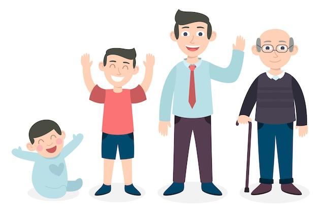 Uma pessoa de diferentes idades ilustrada
