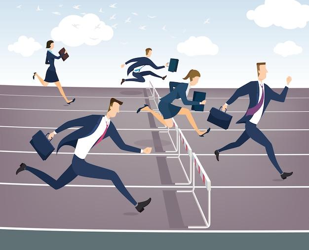 Uma pessoa de negócios, saltando sobre obstáculos.