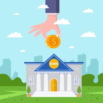 Uma pessoa faz uma contribuição lucrativa para o banco. receber rendimentos do depósito. ilustração plana.