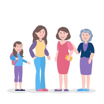 Uma pessoa no conceito de ilustração de diferentes idades
