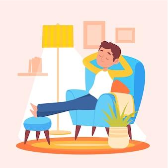 Uma pessoa que relaxa em casa
