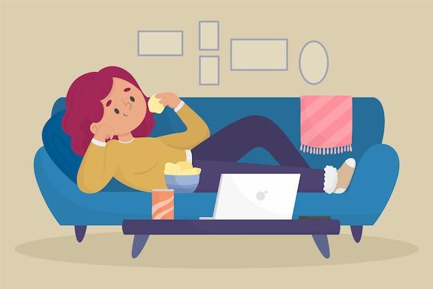 Uma pessoa relaxando em casa ilustração