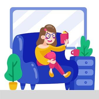 Uma pessoa relaxando em casa
