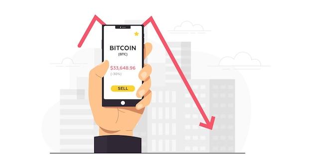 Uma pessoa segura um telefone e vende, compra bitcoin
