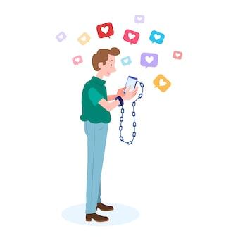 Uma pessoa viciada em mídias sociais