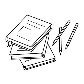 Uma pilha de livros e artigos de papelaria desenhando a lápis na mesa em estilo doodle