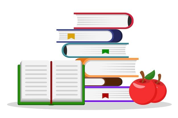 Uma pilha de livros, um livro aberto e duas maçãs vermelhas em um fundo branco.
