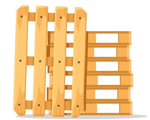 Uma pilha de paletes de madeira uma em cima da outra