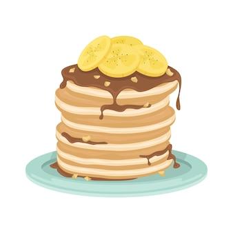 Uma pilha de panquecas fritas com bananas, calda de chocolate e nozes. delicioso café da manhã. ilustração dos desenhos animados.