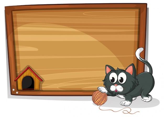 Uma placa com um gato