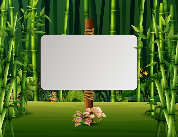 Uma placa em branco na floresta de bambu