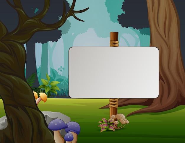 Uma placa em branco na floresta