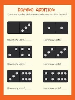 Uma planilha de adição matemática do dominó