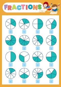 Uma planilha de fração matemática