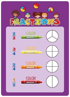 Uma planilha de frações matemáticas