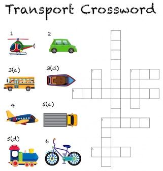 Uma planilha de palavras cruzadas de transporte