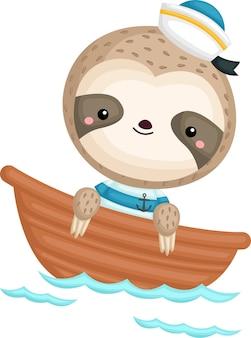 Uma preguiça fofa com fantasia de marinheiro