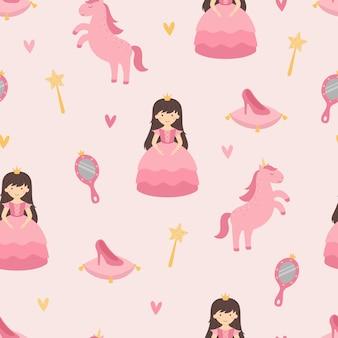 Uma princesa com um unicórnio padrão de berçário sem costura acessórios para princesa