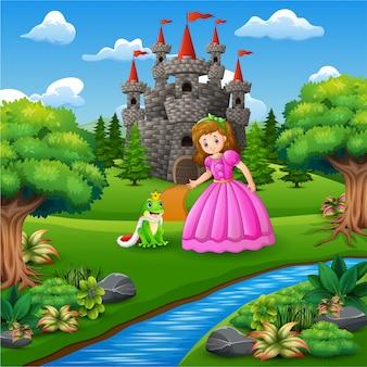 Uma princesa de conto de fadas bonita e o príncipe de sapo