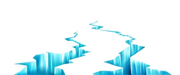 Uma rachadura profunda no gelo quebrado na superfície congelada quebra na geleira em vista em perspectiva da parede realista com fraturas no gelo devido ao terremoto ou derretimento de fendas azuis na parede branca