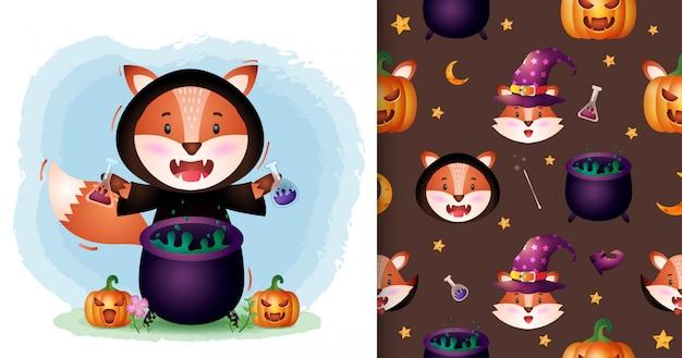 Uma raposa bonita com coleção de personagens de halloween de fantasia de bruxa. padrão sem emenda e desenhos de ilustração