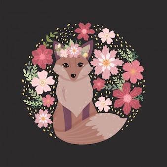 Uma raposa bonitinha, folhas e flores.