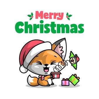 Uma raposa bonito está surpreendida por um palhaço que saindo de uma caixa de presente ilustração de natal